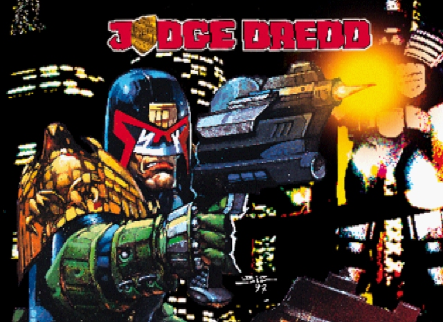 Judge Dredd 1997 game PlayStation title screen