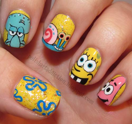 cartoon inspired nail art design