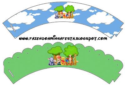 Wrappers o Bases para cupcakes para imprimir gratis de  Winnie de Pooh y sus amigos.
