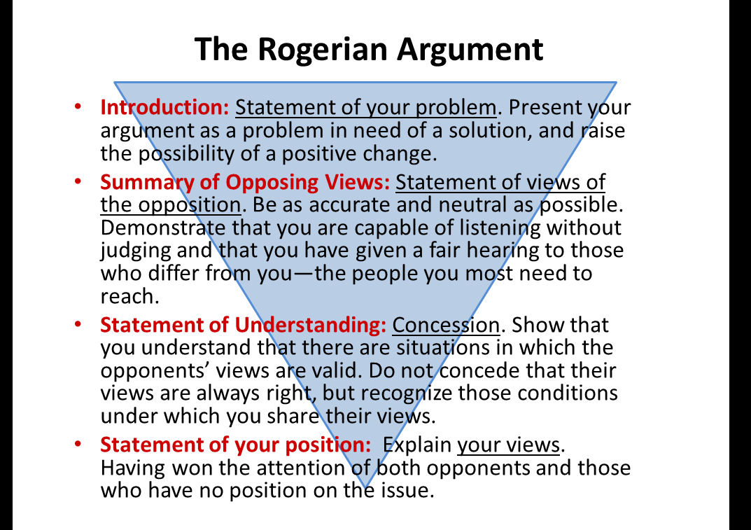example of rogerian argument essay Now that you have had the chance to learn about rogerian arguments, it's time to see what a rogerian argument might look like below, you'll see a sample.