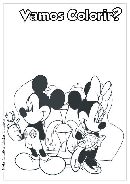 Mickey e Minnie desenho para colorir