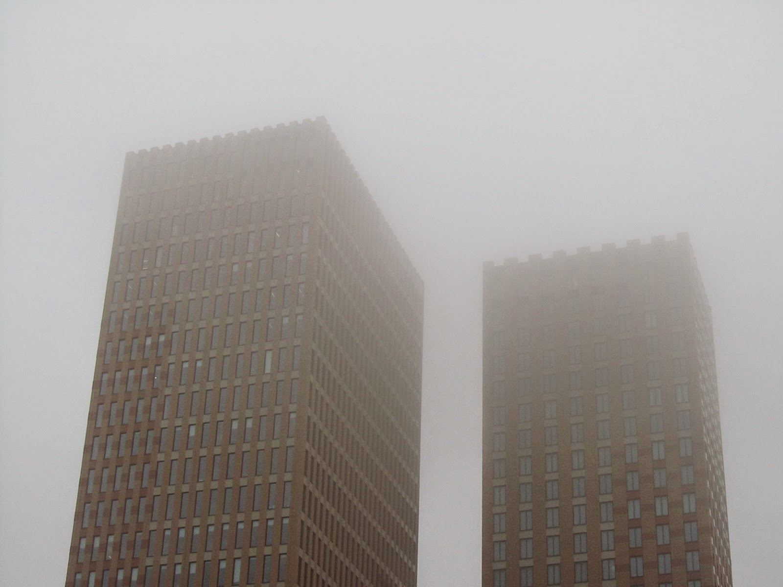 two towers in the mist