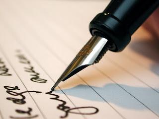 كتابة بالحبر