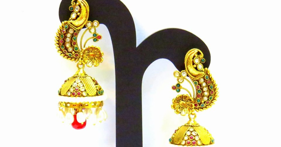 Gold Plated Jhumka Or Buttalu Earrings Designs Latest