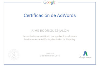 Jaime Rodriguez Jalón certificado de Google Shopping