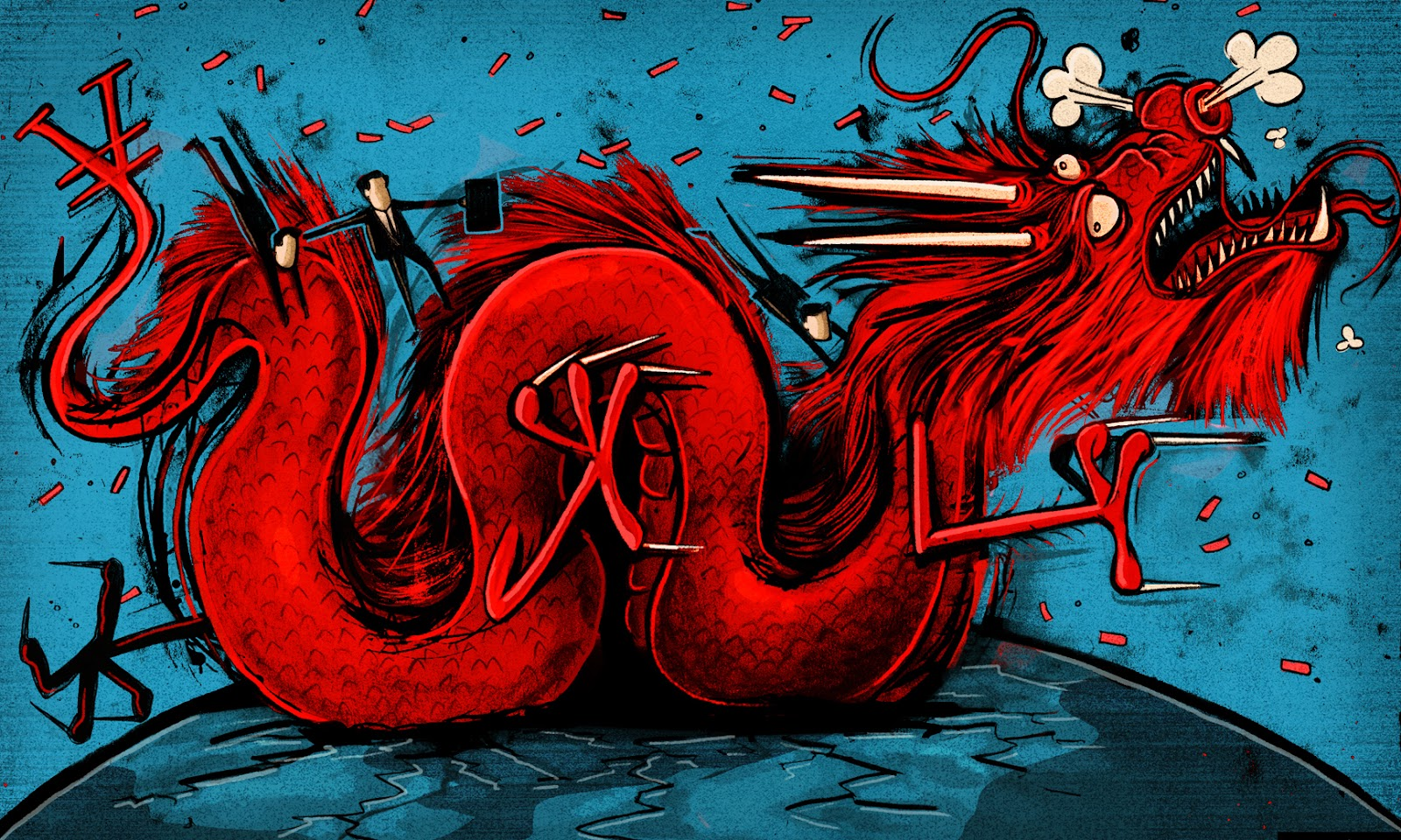 Ben Jennings: Riding a Chinese dragon.