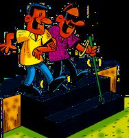 Creyentes que no creen, imagen de un ciego siendo guiado por un cristiano. Caricatura El Árbol Verde en Grupo Edíficate.
