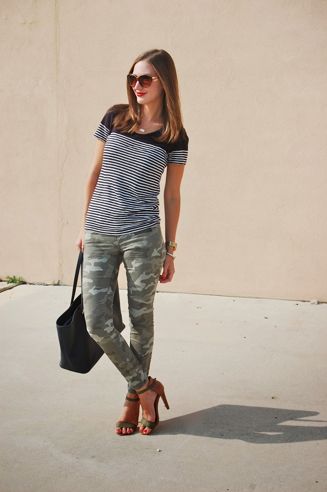 Wearing Stripes and Camouflage. Camo Skinny Jeans, Striped J.Crew Shirt, Prima Donna Two Tone Heels