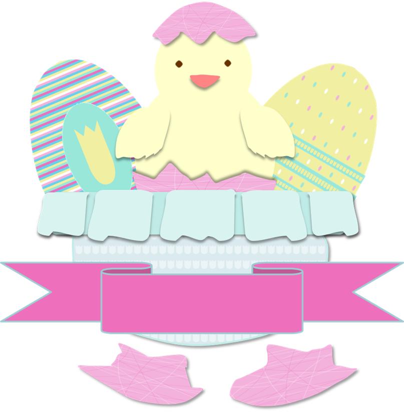 dibujo huevos y pollito de Pascua