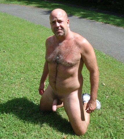 outside gay dad - naked mature man - bald gay daddies