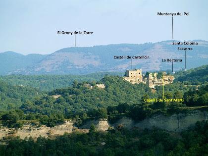 Aproximació fotogràfica al Castell de la Popa des de l'ermita de la Mare de Déu del Roser de Barnils