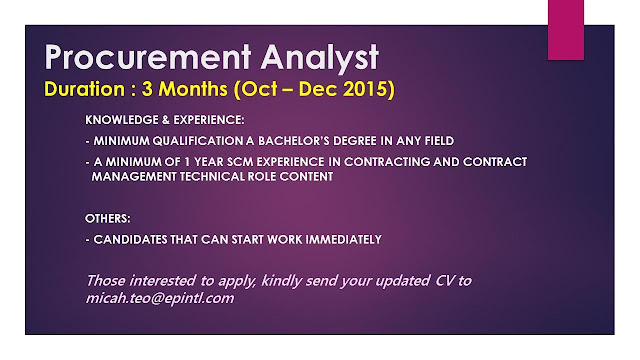 Procurement Analyst. the analyst will work closely with the customer ...