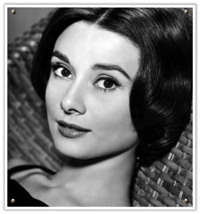 Audrey Hepburn 1950s short cropped full straight hair