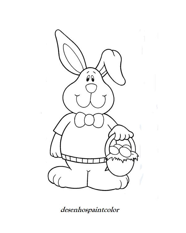 colorindo com a dry desenho de coelho da pÁscoa carregando cesta