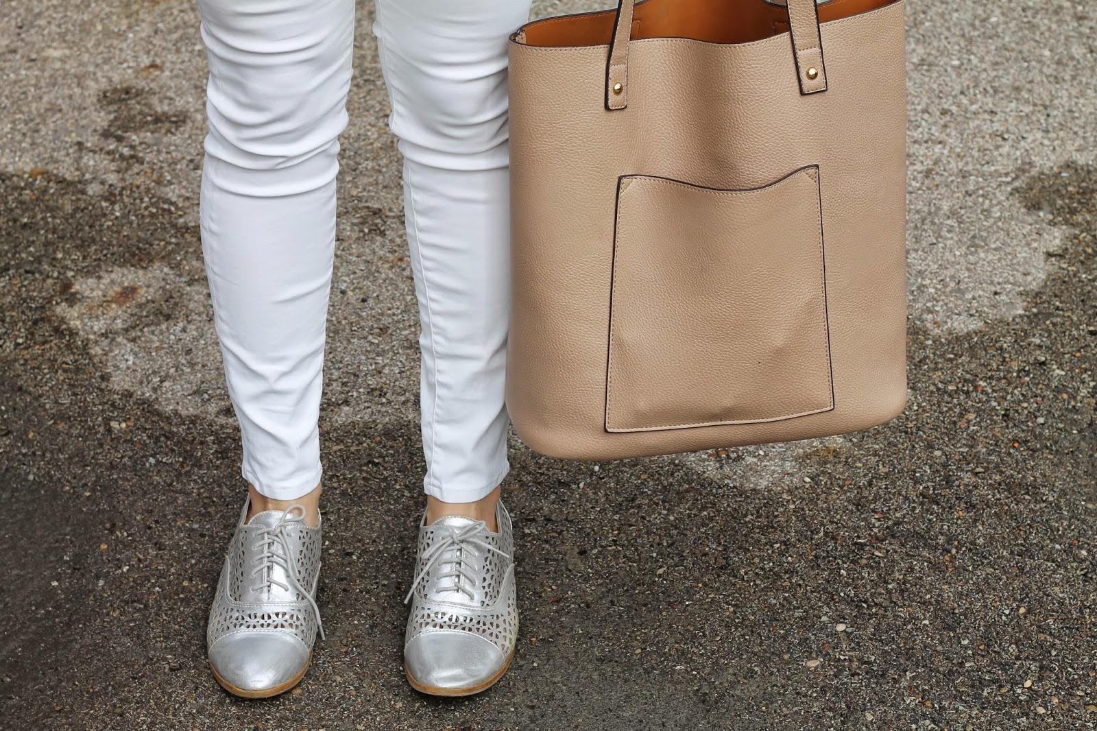silver, oxfords, white, pants