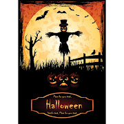 16. Free Vector Scarecrow Halloween in moonlight Template