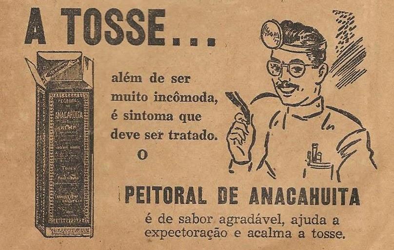 Propaganda do Peitoral de Anacahuita em 1948 para combate da tosse.