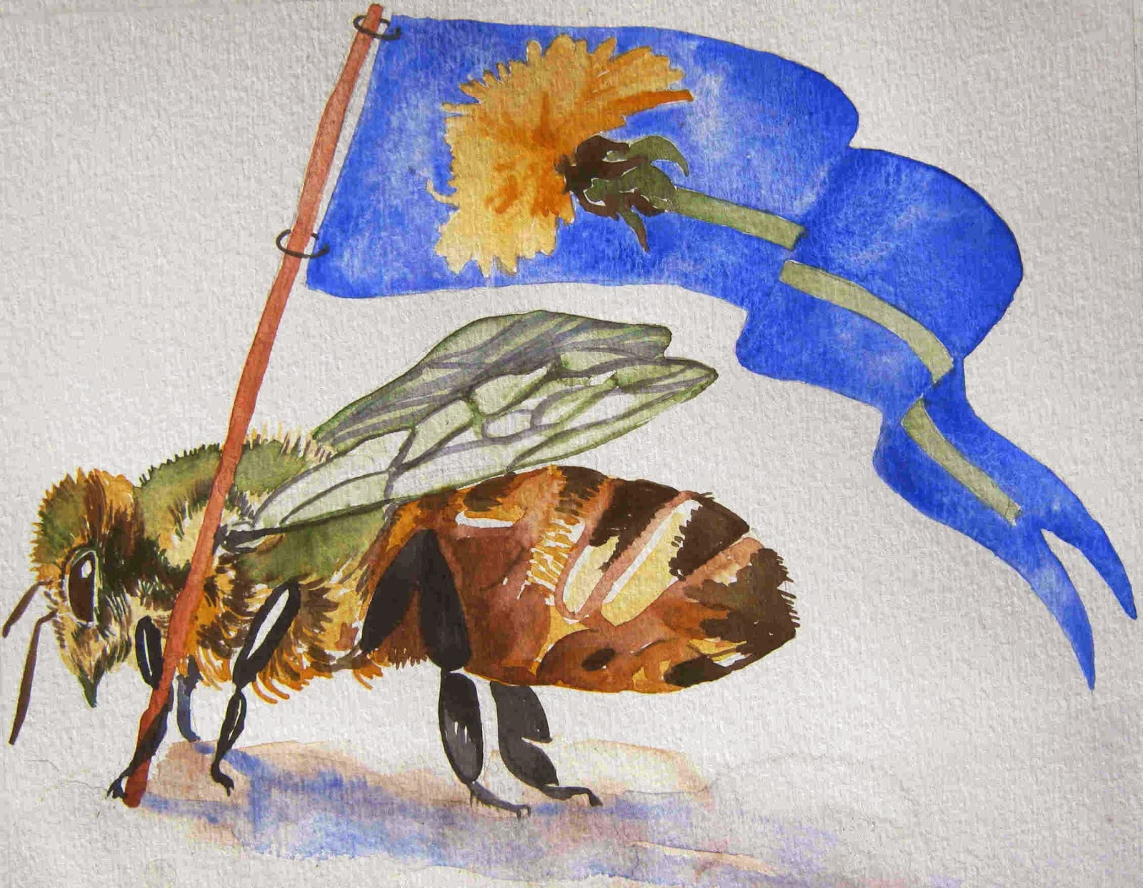 """BEES FOR PEACE"" J. Muir 2014 Colors of Nature paint on watercolor paper 7¼ x 9¼"