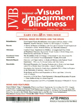 The cover of a recent Journal of Visual Impairment and Blindness (JVIB)