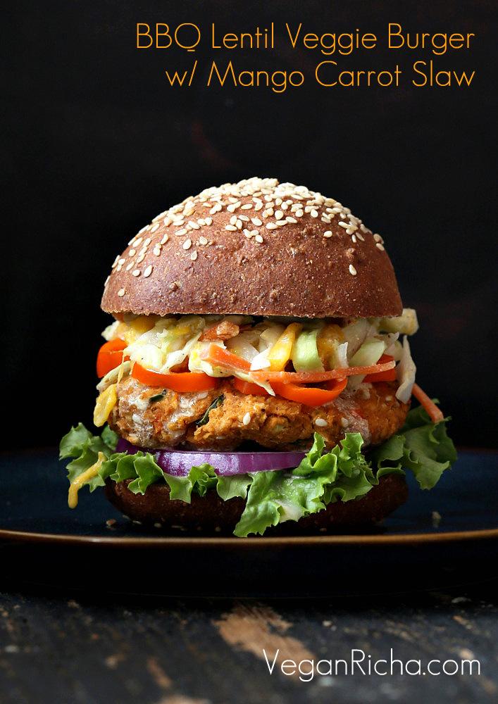 BBQ Lentil Veggie Burger with Mango Carrot Slaw. Vegan Recipe - Vegan ...