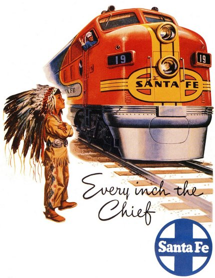 Every Inch the Chief Santa Fe - Vintage Train Travel Printable Poster, classic posters, free download, free printable, graphic design, printables, retro prints, travel, travel posters, vintage, vintage posters, vintage printables