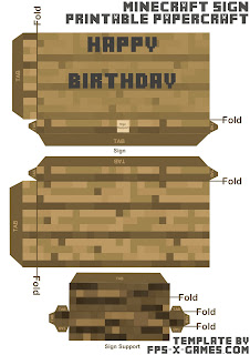 Minecraft papercraft happy birthday sign template cut out