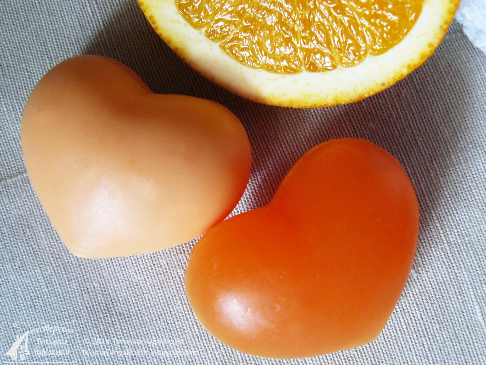 мыло в форме сердца своими руками с ароматом апельсина