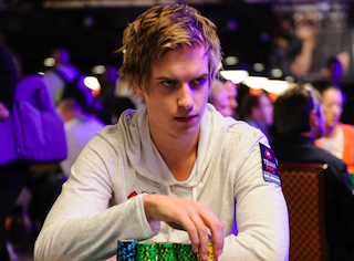 Viktor Blom playing Day 2c in the 2012 WSOP Main Event