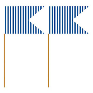 Stribede pynteflag - Blå og hvid