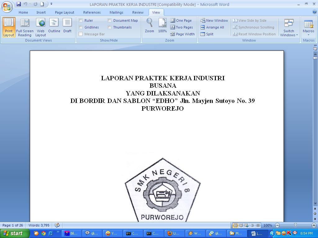 Contoh Laporan Praktek Kerja Industri Contoh Surat Dan