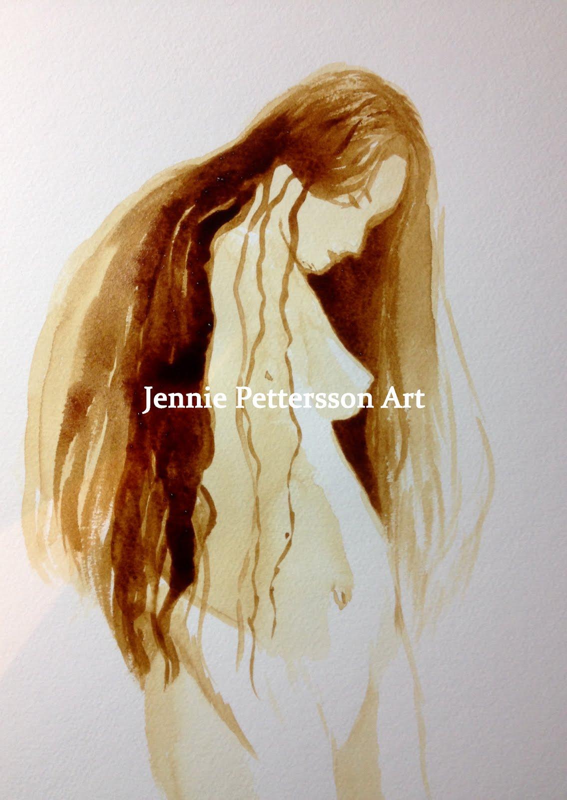 Kaffeflicka, målad i kaffe på akvarellpapper.
