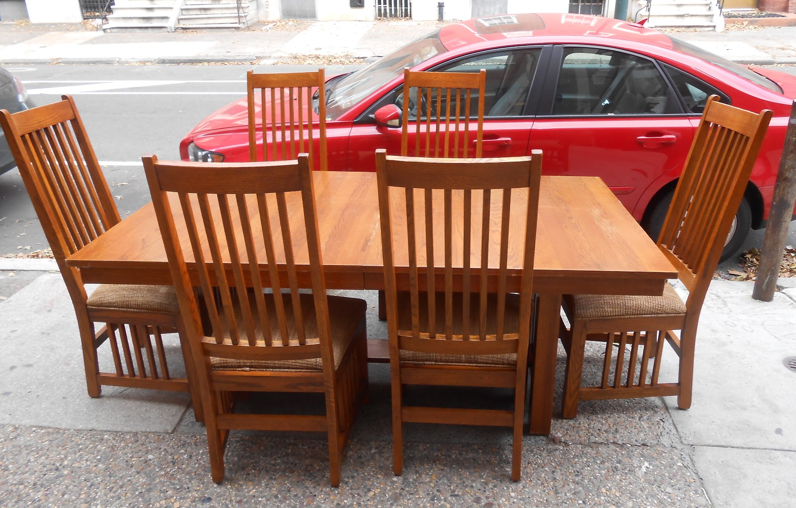 Uhuru furniture collectibles mission style dining table 6 chairs sold - Mission style dining room furniture ...