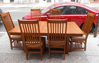 Uhuru Furniture & Collectibles: Mission Style Dining Table + 6 ...