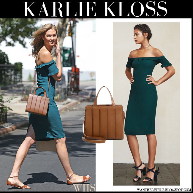 Karlie Kloss in green teal off shoulder The Reformation antonia dress with brown leather shoulder bag max mara whitney what she wore july 22