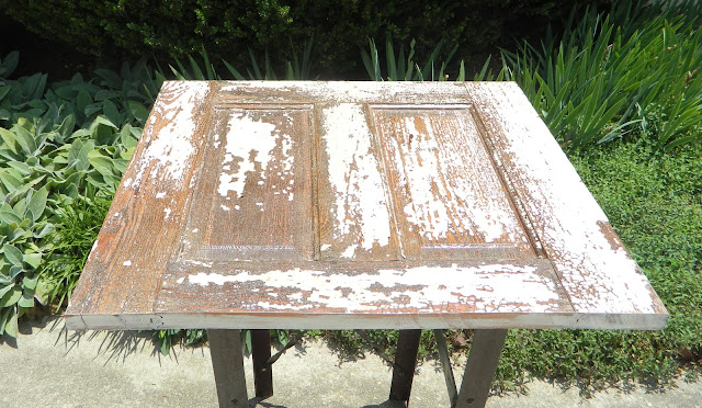 salvaged door as table top