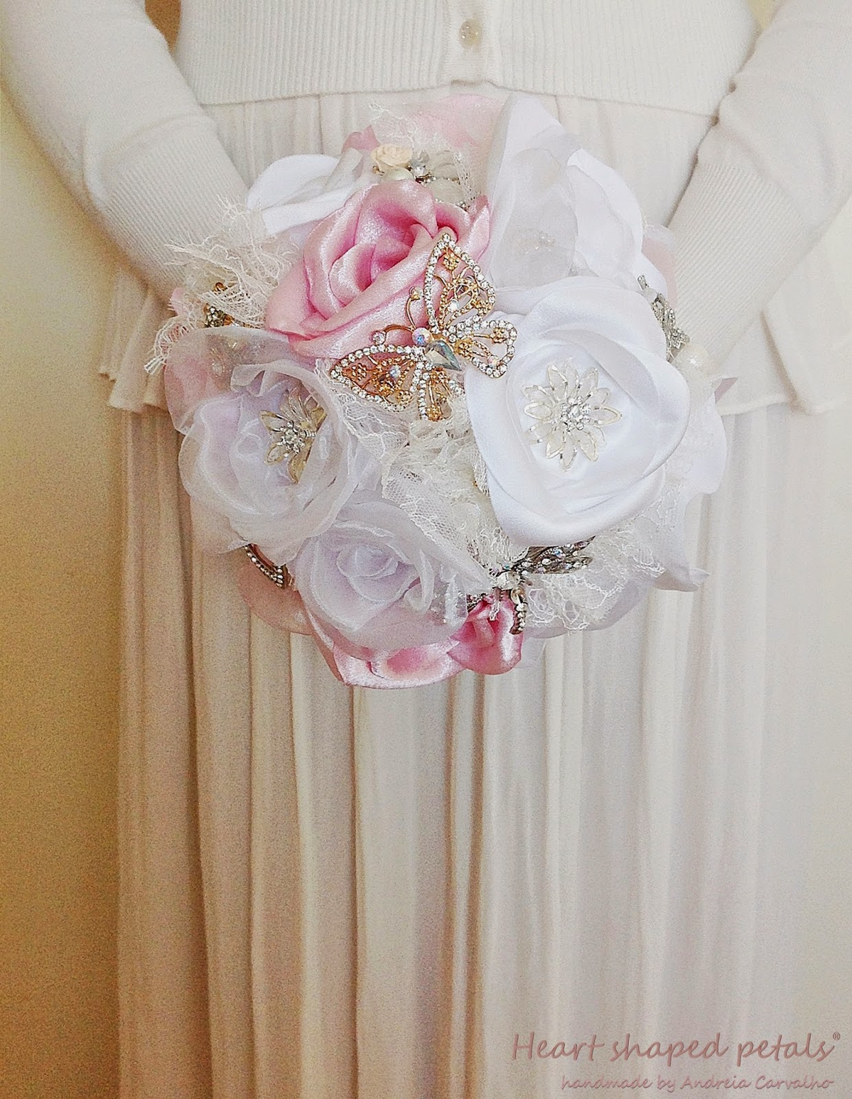 Wedding brooch and fabric bouquet