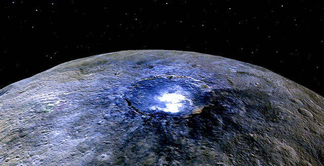 This representation of Ceres' Occator Crater in false colors shows differences in the surface composition. Credits: NASA/JPL-Caltech/UCLA/MPS/DLR/IDA