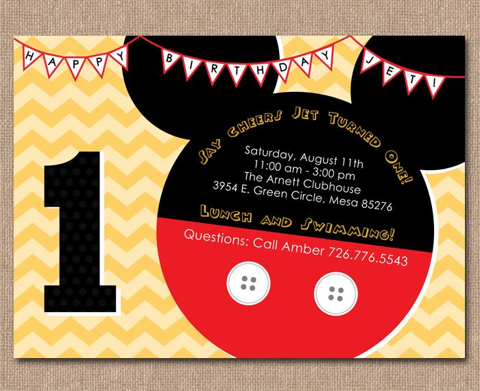 Kimberly J Design Mickey Mouse Birthday Invitation