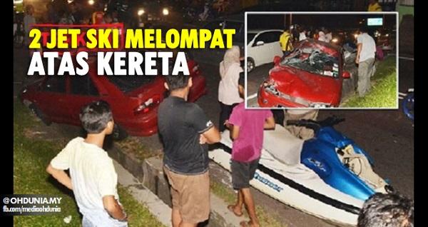 Empat beranak cedera, dua jet ski melompat atas kereta