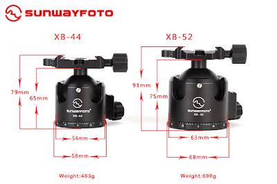 Sunwayfoto XB-44 / XB-55 dimensions