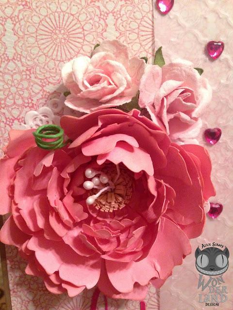 peony, garden, gardening, flowers, pink, birthday, handmade, scrapbooking, card making, paper crafts, floral, hearts, Tim Holtz, Ranger Ink, Sizzix, Marion Smith Designs, My Mind's Eye
