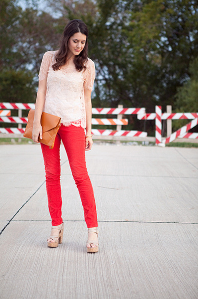Colored skinny jeans in long length