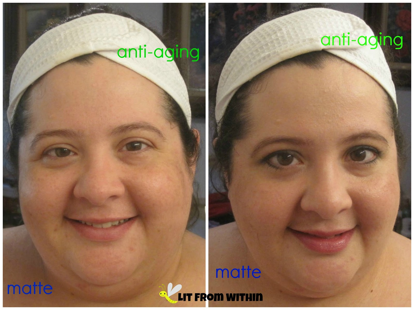 I put matte primer on half my face, and anti-aging on the other half.