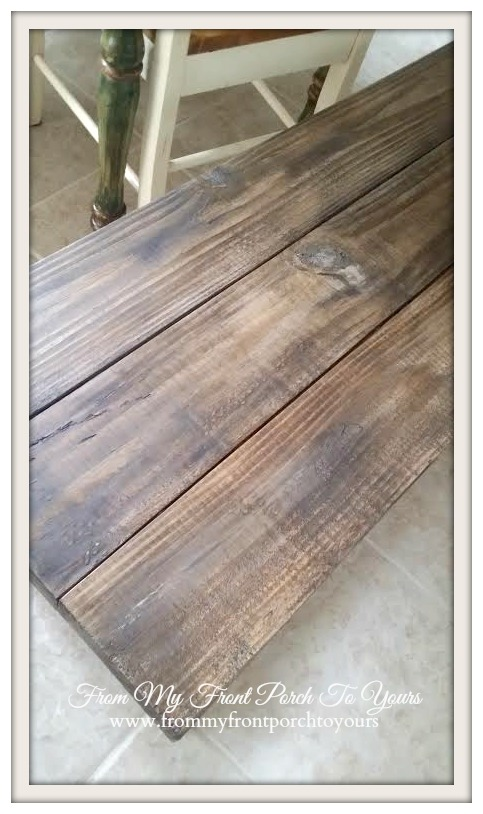 From My Front Porch To Yours- Anna White Fancy Farmhouse X Bench-Old Barn Wood Look