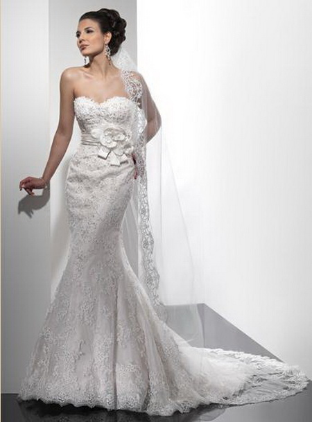 Big shark romantic strapless mermaid wedding dresses for Wedding dresses for tall skinny brides
