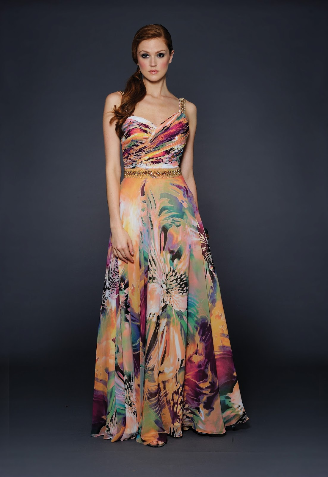 Long floral dress for wedding  MARIA ROJAS mariarojas on Pinterest