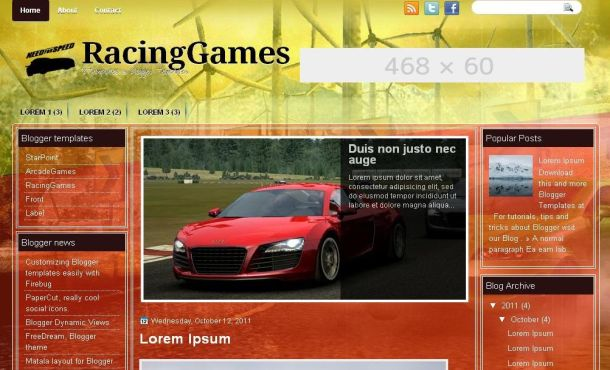 Free Racing Games Jquery Blogger Layout Template