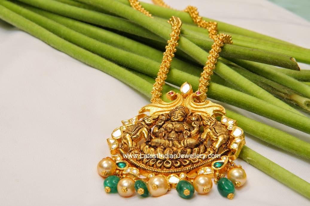 Lakshmi pendant gold haram