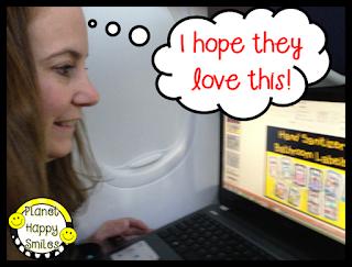 Karen working on the plane