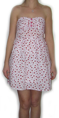 dress, summer,mushroom, strawberry, fabric, pattern, shirring, pretty